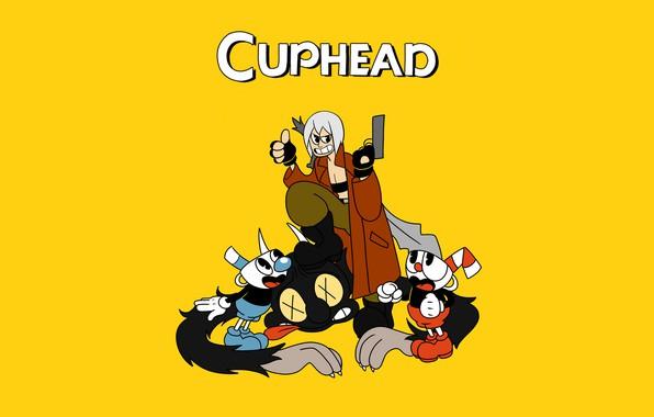 Картинка Dante, crossover, devil may cry, Чашко-головые братья, cuphead