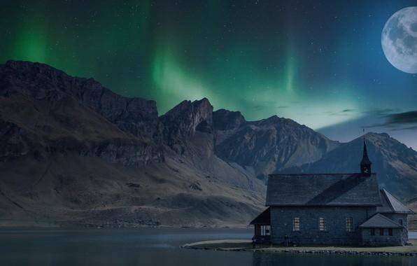 Картинка небо, звезды, пейзаж, горы, ночь, природа, дом, темнота, река, рендеринг, люди, скалы, луна, берег, вершины, …