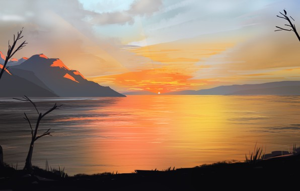 Картинка sky, landscape, nature, Sunset, art, mountains, clouds, lake, sun, digital art, artwork, illustration