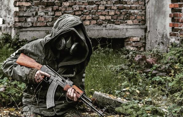 Картинка маска, противогаз, чернобыль, stalker, сталкер, калаш, ак47, Chernobylite