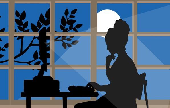 Картинка компьютер, девушка, работа, усталость, вечер, силуэт, поздно