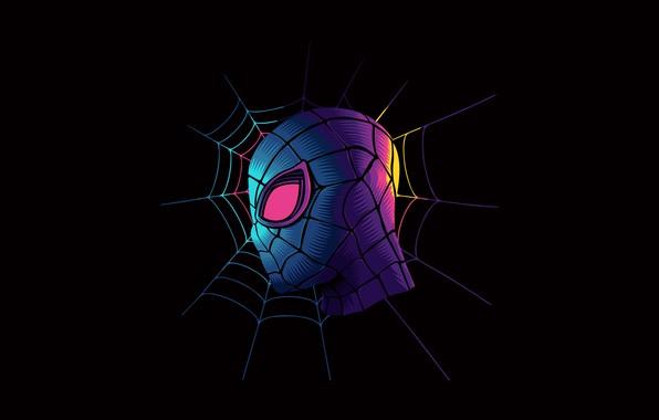 Картинка colorful, fantasy, minimalism, Marvel, digital art, artwork, mask, superhero, black background, fantasy art, Peter Parker, …