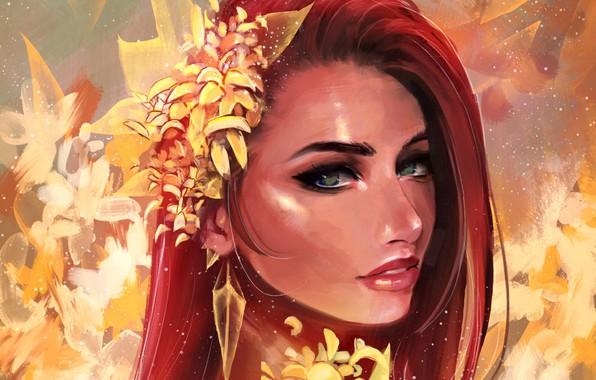 Картинка Girl, green eyes, art, flowers, face, redhead, artwork, portrait, mouth