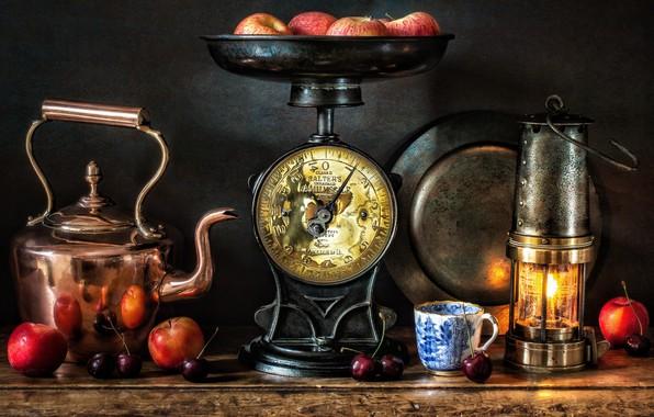 Картинка стиль, ягоды, яблоки, лампа, чайник, кружка, фонарь, натюрморт, весы, черешня