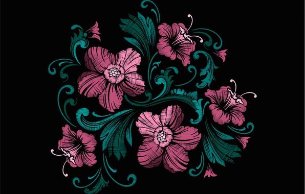 Картинка цветы, текстура, черный фон