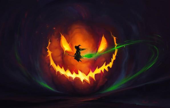 Картинка lights, dark, Halloween, horror, fantasy, magic, flying, night, dusk, artist, holiday, digital art, artwork, pumpkin, …