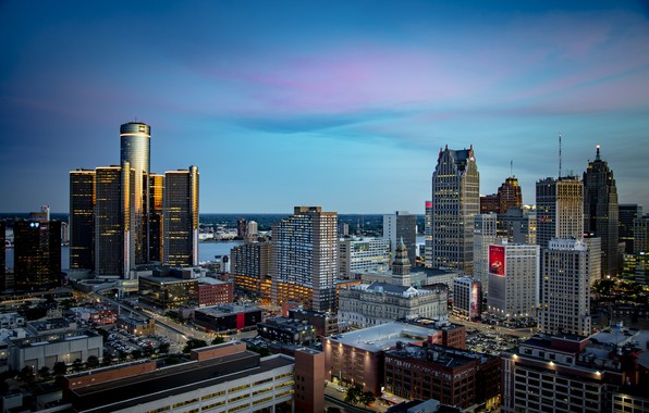 Картинка огни, вечер, небоскрёбы, Детройт