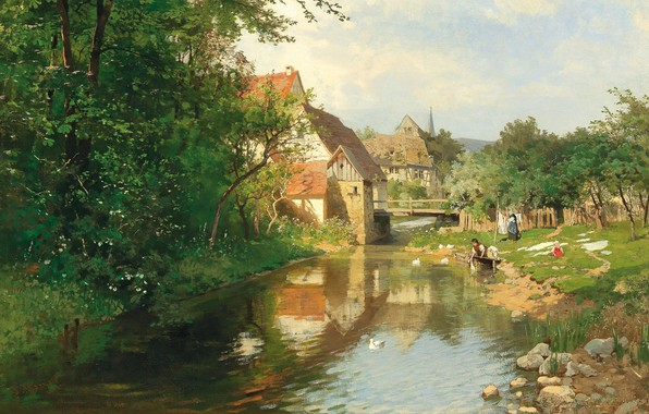 Картинка 1874, австрийский живописец, Austrian landscape painter, oil on canvas, Hugo Darnaut, Деревня у реки, Хьюго …