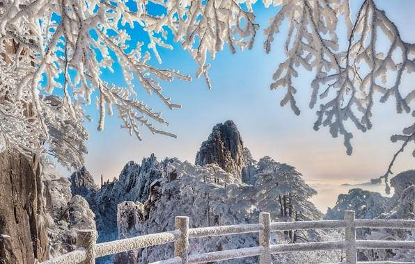 Картинка зима, снег, деревья, пейзаж, горы, ветки, природа, ограждение, Китай