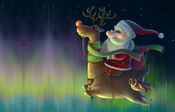 Картинка ночь, праздник, сова, звёзды, северное сияние, олень, арт, Новый год, Санта, полюс, детская, Ivan Pilipenko, …