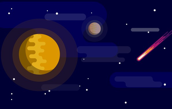 Картинка dark, space, red, moon, star, minimalism, yellow, blue, art, stars, orange, planet, illustration, comet