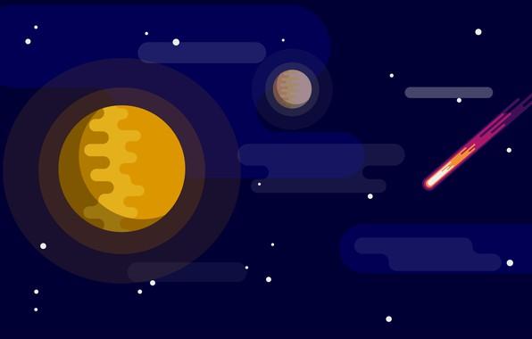 Картинка dark, space, red, moon, star, minimalism, yellow, blue, art, stars, orange, planet, illustration, comet