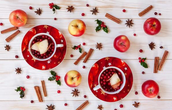 Картинка ягоды, яблоки, Рождество, фрукты, корица, Christmas, winter, cup, fruit, berries, tea, apples, decoration, cinnamon, чашка …