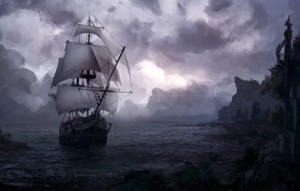 Картинка Океан, Море, Берег, Корабль, Тучи, Пейзаж, Illustration, Sea, Ship, Прибытие, Arrival, Nikita Bubriak, Arrival in ...
