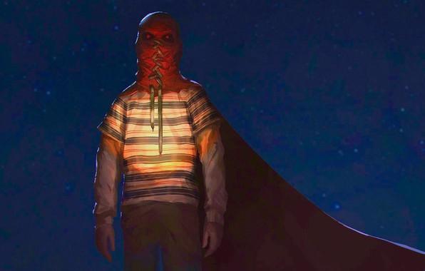 Картинка ночь, мальчик, маска, плащ, Brightburn, Гори Гори Ясно