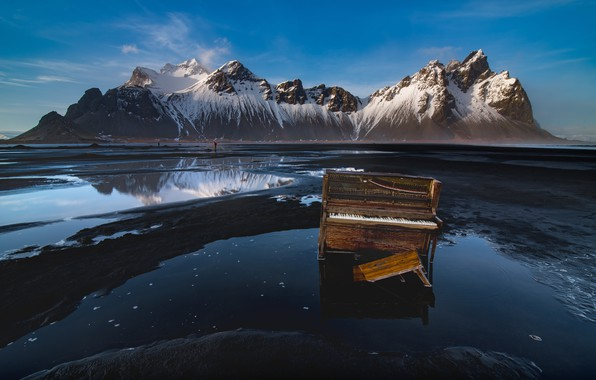 Картинка горы, музыка, берег, пианино