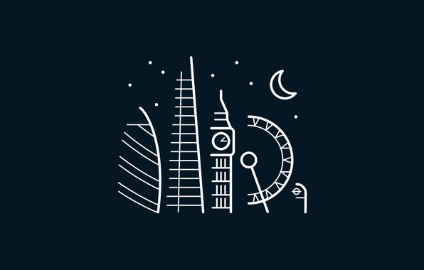 Картинка moon, minimalism, stars, London, London Eye, digital art, Big Ben, artwork, architecture, United Kingdom, building, …