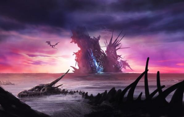 Картинка Небо, Море, Дракон, Кости, Fantasy, Арт, Фантастика, Скелет, Illustration, Environments, by Tomasz Ryger, Dragon's graveyard, ...
