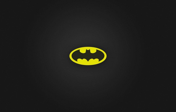 Картинка logo, black, Batman, minimalism, yellow, black background, simple background