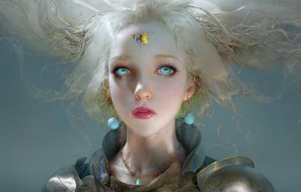 Картинка лицо, серьги, единорог, голубые глаза, серый фон, белые волосы, art, unicorn, девушка-воин, Ruan Jia, доспехи …