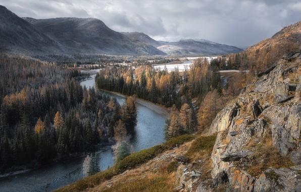 Картинка осень, снег, пейзаж, горы, природа, река, долина, леса, Алтай, Павел Силиненко, долина Коксу