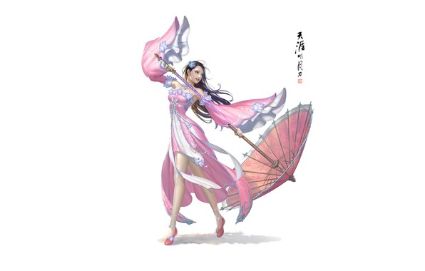 Картинка Girl, Beautiful, Art, Asian, Style, Umbrella, Minimalism, Characters, Dress, Donfoo