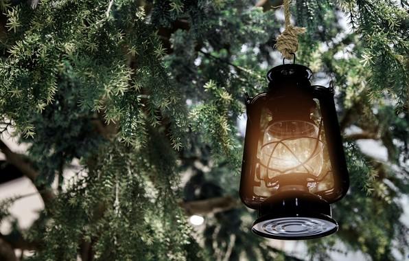 Картинка снег, украшения, елка, Новый Год, Рождество, фонарь, Christmas, snow, Merry Christmas, Xmas, decoration, candle, lantern