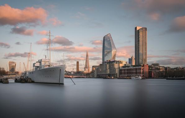 Картинка Sunset, London, Thames, Ship, Big Stopper