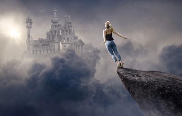 Картинка небо, девушка, солнце, облака, лучи, свет, полет, тучи, город, поза, скала, рендеринг, замок, фантазия, фантастика, ...
