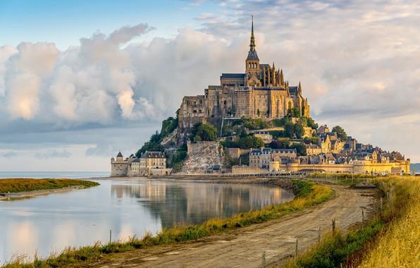 Картинка дорога, Франция, крепость, France, Mont Saint-Michel