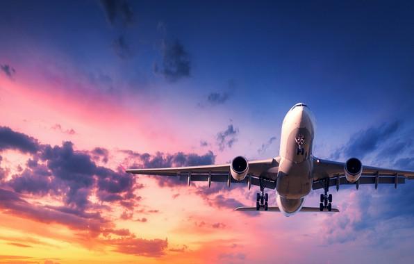 Картинка солнце, облака, закат, полёт, самолёт, летит, в небе, пассажирский