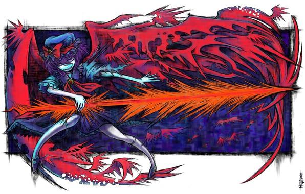 Картинка красные глаза, безумие, remilia scarlet, рваная одежда, вампирша, злобный взгляд, супер-оружие, одержимая, адская ухмылка, проект …