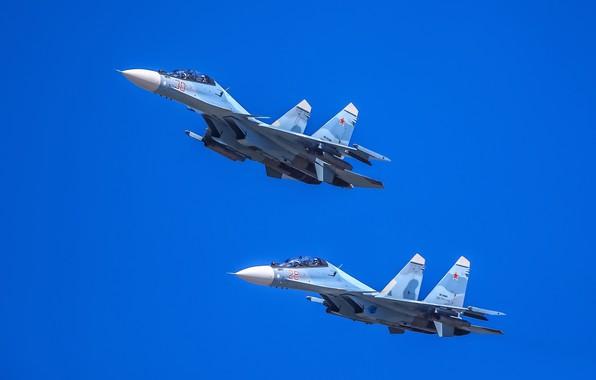 Картинка пара, полёт, многоцелевой истребитель, Су-30СМ, Su-30SM