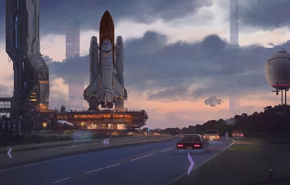 Картинка fantasy, road, sky, cars, cloud, shuttle, artist, digital art, spaceships, artwork, fantasy art, illustration, futuristic, …