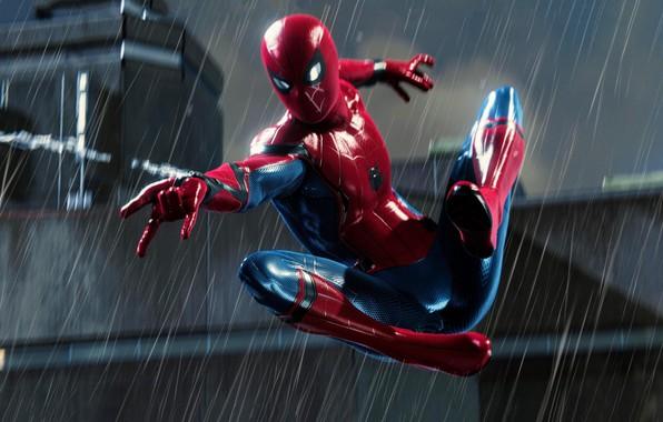 Картинка Rain, Spider Man, PS4, Playstation 4 Pro, Marvel's Spider-Man