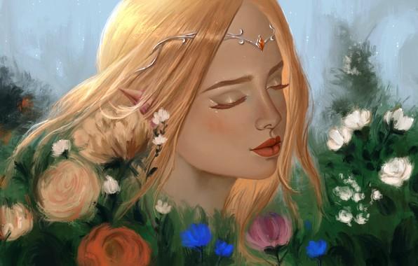 Картинка ресницы, брови, рыжая, эльфийка, диадема, длинные волосы, закрытые глаза, цветник, портрет девушки, остроухая, by Aoleev