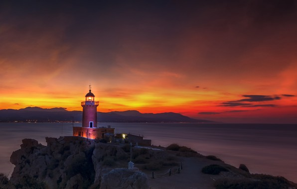 Картинка море, пейзаж, закат, природа, скалы, маяк, вечер, Греция