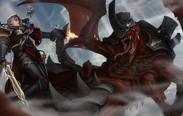 Картинка меч, sword, Adepta Sororitas, Вархаммер, сервочереп, сестра битвы, tyranid, Warhammer 40 000, Sister of Battle, …