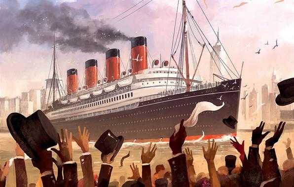 Картинка Рисунок, Люди, Арт, Art, Titanic, Illustration, RMS Titanic, Game Art, Dominik Mayer, Transatlantic, by Dominik …