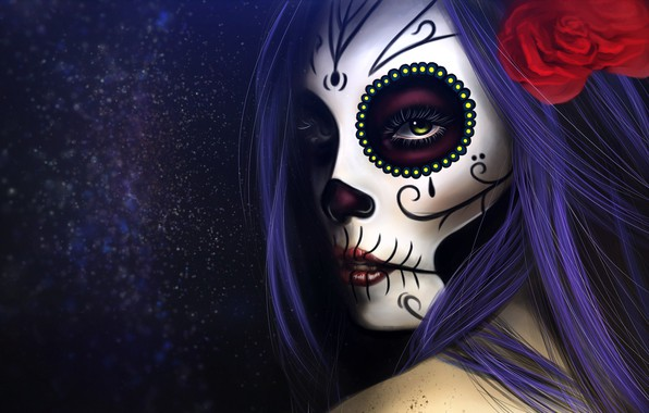 Картинка Девушка, Рисунок, Стиль, Глаза, Фон, Calavera, Digital Art, Día de los Muertos, Dia de los …