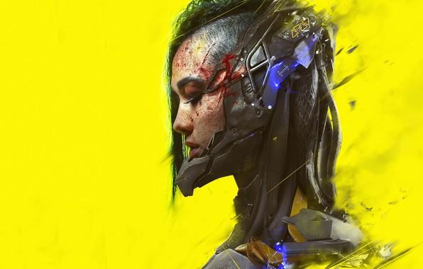 Картинка девушка, арт, профиль, киберпанк, желтый фон, cyberpunk