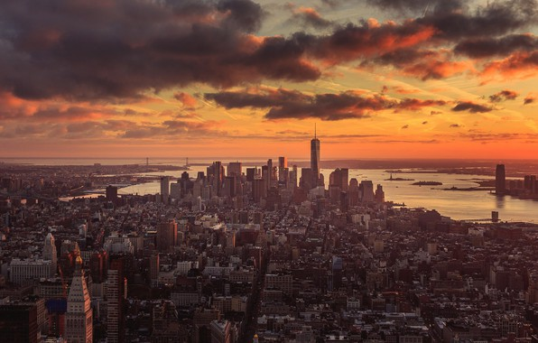 Картинка city, New York, New York sunset
