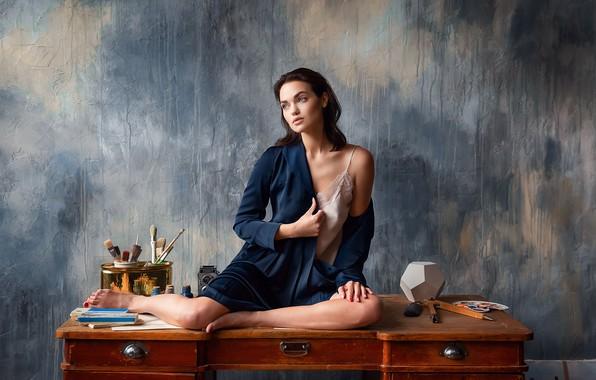 Картинка поза, модель, Девушка, ножки, сидит, Ярослава, Анастасия Бармина