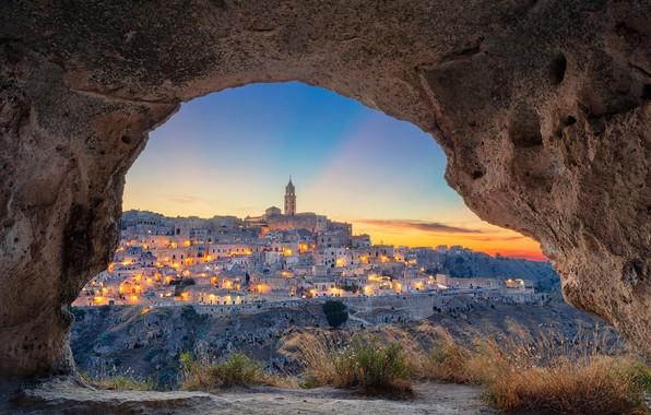Картинка закат, вид, здания, дома, Италия, Italy, Matera, Базиликата, Матера, Basilicata