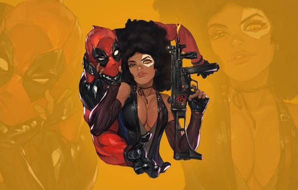 Картинка грудь, глаза, взгляд, gun, пушка, красотка, стикер, boobs, eyes, Deadpool, Marvel, Дэдпул, костюмы, look, babe, …