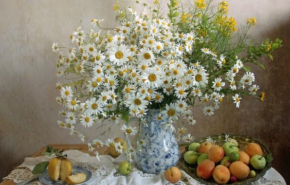 Картинка лето, ромашки, букет, фрукты, абрикосы