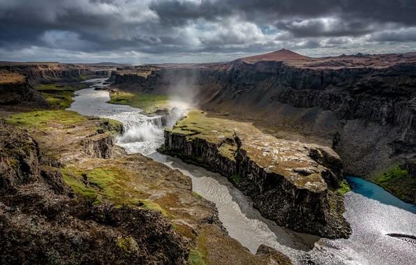 Картинка река, водопад, каньон