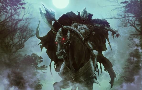 Картинка Лошадь, Ночь, Рисунок, Луна, Лес, Конь, Властелин Колец, Арт, Art, Призрак, The Lord of the …