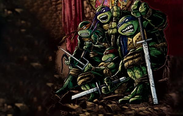 Картинка TMNT, черепашки-ниндзя, donatello, leonardo, черепашки ниндзя, michelangelo, comix, rafael