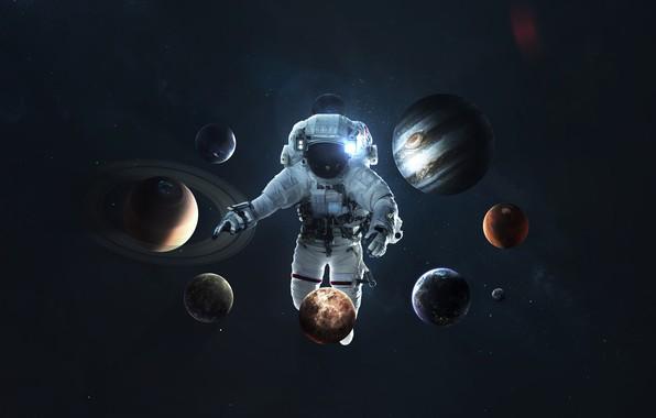 Картинка Сатурн, Луна, Космос, Земля, Планеты, Астронавт, Космонавт, Moon, Марс, Юпитер, Нептун, Меркурий, Венера, Planets, Saturn, ...